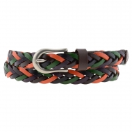 Cintura da donna in pelle intrecciata multicolor