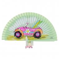 Ventilatore verde design auto rosa e tavole da surf