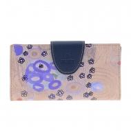 Portafoglio grande in tela blu e pelle Klimt Amichi