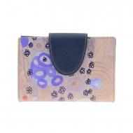 Portafoglio di carte Klimt Amichi in tela e pelle blu
