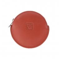 Pochette rotonda in pelle piatta con mini incisione
