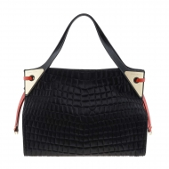 Maxi borsa nera con due manici in pelle incisa e pelliccia