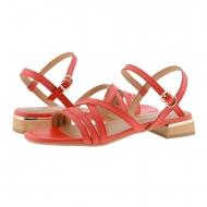 Sandali bassi in pelle rossa con cinturini incrociati