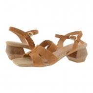 Sandali mezzo tacco in crosta di pelle