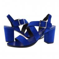Sandali tacco alto plumers in pelle scamosciata blu