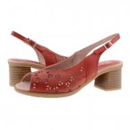 Sandali tacco medio Pitillo in pelle rossa