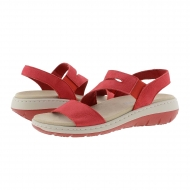 Sandali in pelle nabuk rossa con elastici