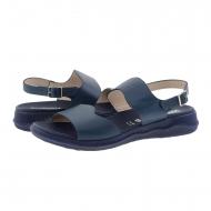 Sandali con zeppa in pelle liscia blu scuro C-5623 Meraviglie
