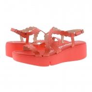 Sandali con zeppa in pelle rossa B-7902 Meraviglie
