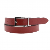 Cintura reversibile in pelle rossa e marrone El Caballo