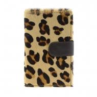 Portafoglio grande porta carte di credito in pelle di leopardo marrone