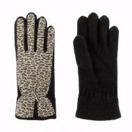 Guanti in lana e leopardo