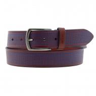 Cintura in pelle rossa con quadrati incisi