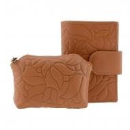 Portafoglio e portamonete in pelle goffrata fiore