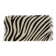 Portafoglio con zip in pelle di zebra